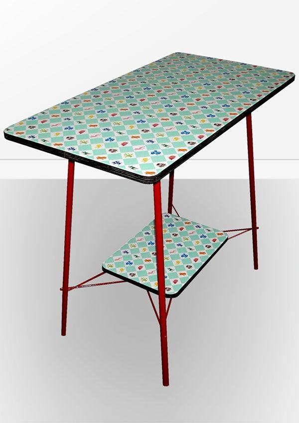 table_losanges, créations les fil-feuilles avec le rouleau adhésif Kitsch Kitchen