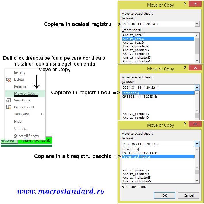 Copiere/Mutare foaie de lucru in registru Excel