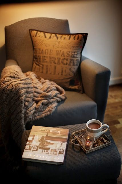delightful: Decor, Drinks Coff, Colors Tones, Cups Of Coff, Reading Nooks, Reading Chairs, Reading Books, Blankets, Comfy Chairs