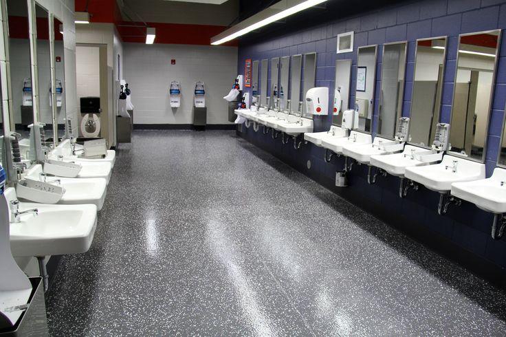 Stadium floor coating job. No VOC or noxious fumes.