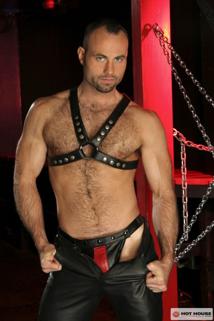 gym men at play leather