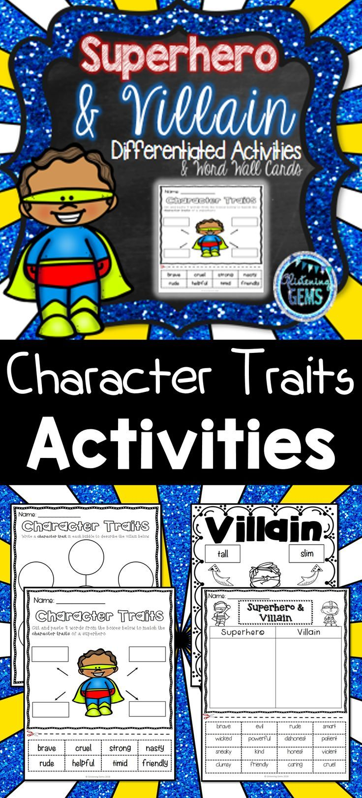 Superhero Villain Character Trait Activities And Word Wall Cards No Prep Worksheets Anchor Ch Character Traits Activities Character Trait Villain Character [ 1619 x 736 Pixel ]