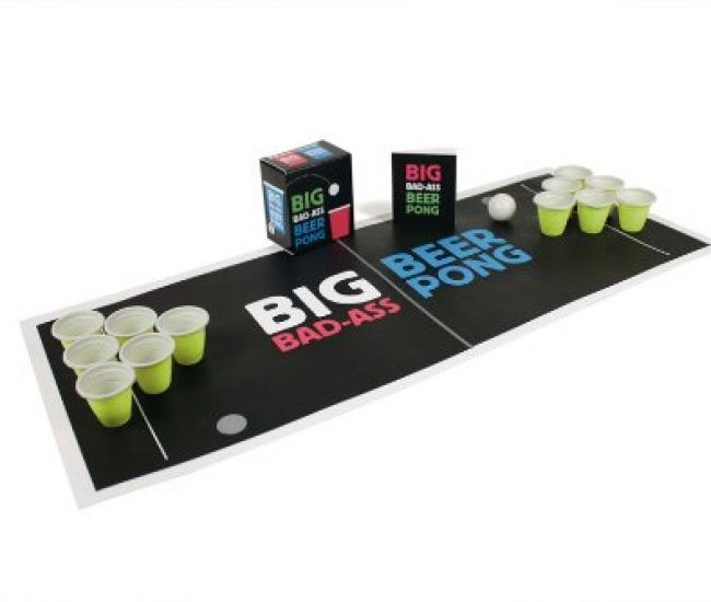 Over the year beer pong has become a world played drinking game and you can play it on a small scale with this mega mini kit that comes with 12 mini plastic cups, 2 mini white ping pong balls, a playing mat and a beer pong rule book to make sure you are playing by the rules.
