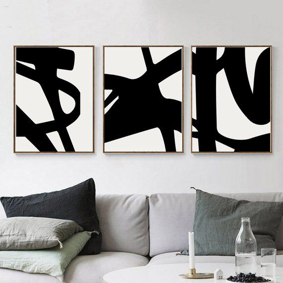 Black And White Art Set Of 3 Prints Black Abstract Art Living Room Decor Black Line Art Downloadable Prints Modern Poster Large Wall Art