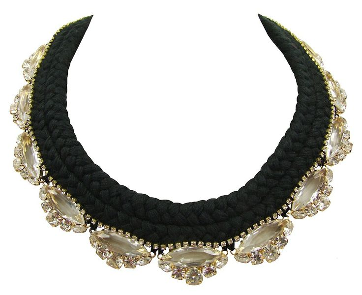Paris Luxe black braid clear crystals - Jolita Jewellery  #necklace #braided #silk #crystals #gold #luxury #glamour #handmade #statementnecklace #jolita #jolitajewellery