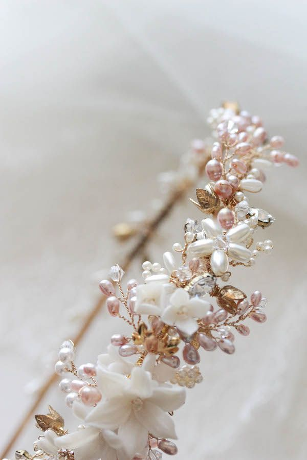 Golden Whimsy   A gold and pink freshwater pearl wedding headband for Eugene