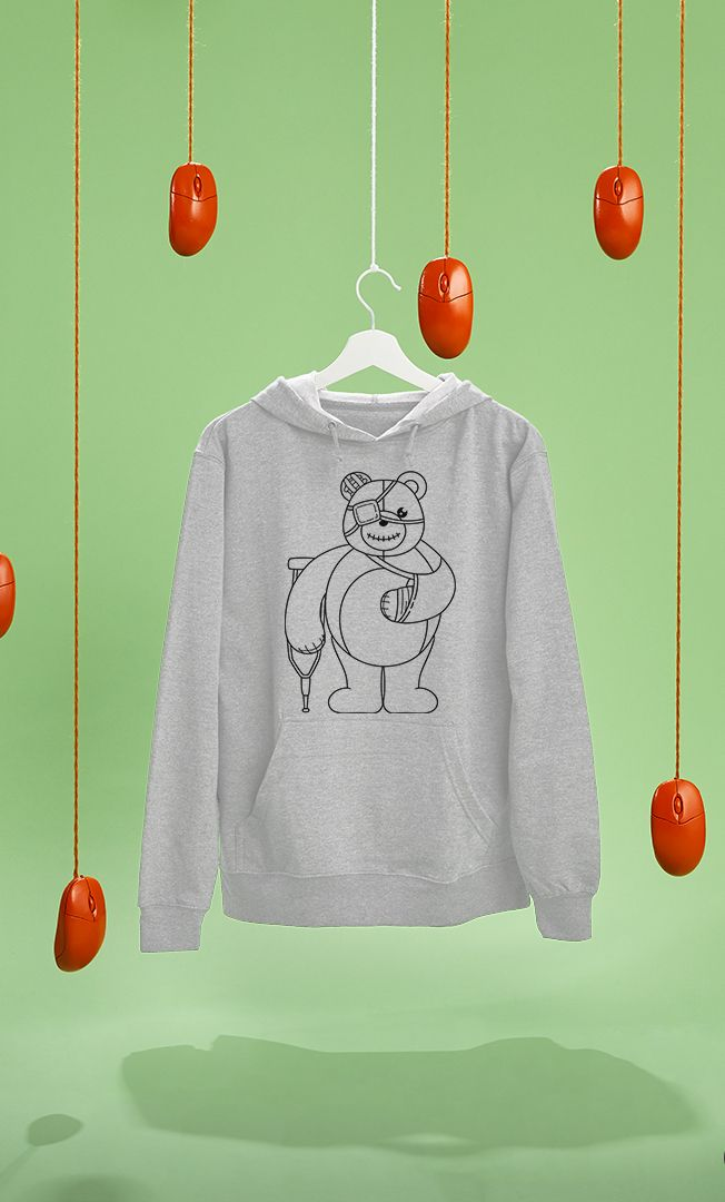Hurt Teddy Pullover by Little Monster on RedBubble. Hoodie with my illustration in it.