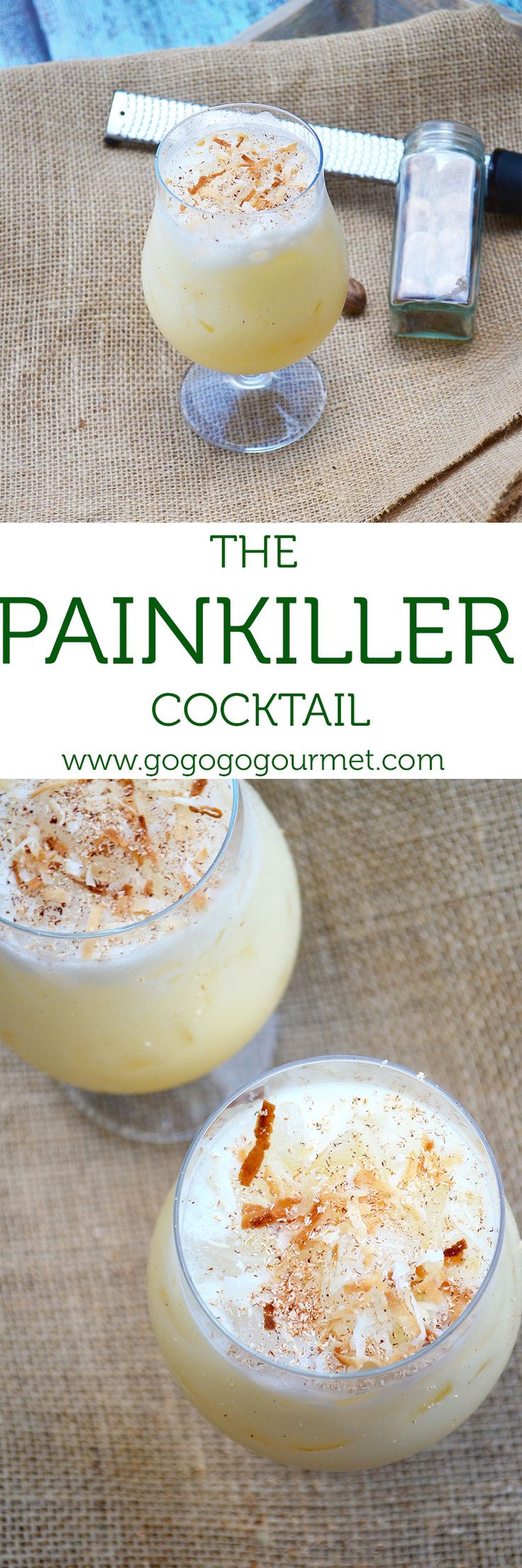 This Painkiller Cocktail is totally out of this world- rum, coconut, orange and pineapple form a little taste of the tropics. | Go Go Go Gourmet Go Go Go Gourmet