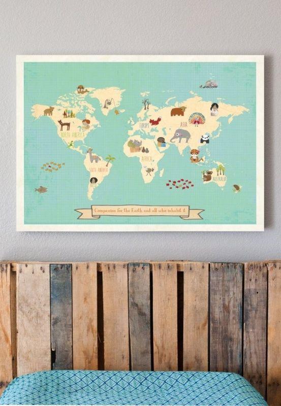 Wereldkaart voor kinderen. Te bestellen bij grasonderjevoeten.nl