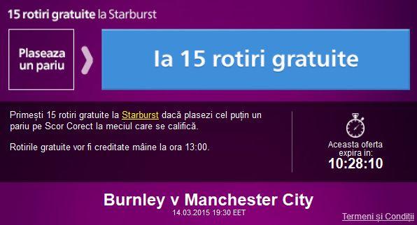 Fa un pariu la Burnley vs Manchester City si ia 15 rotiri gratuite - Ponturi Bune