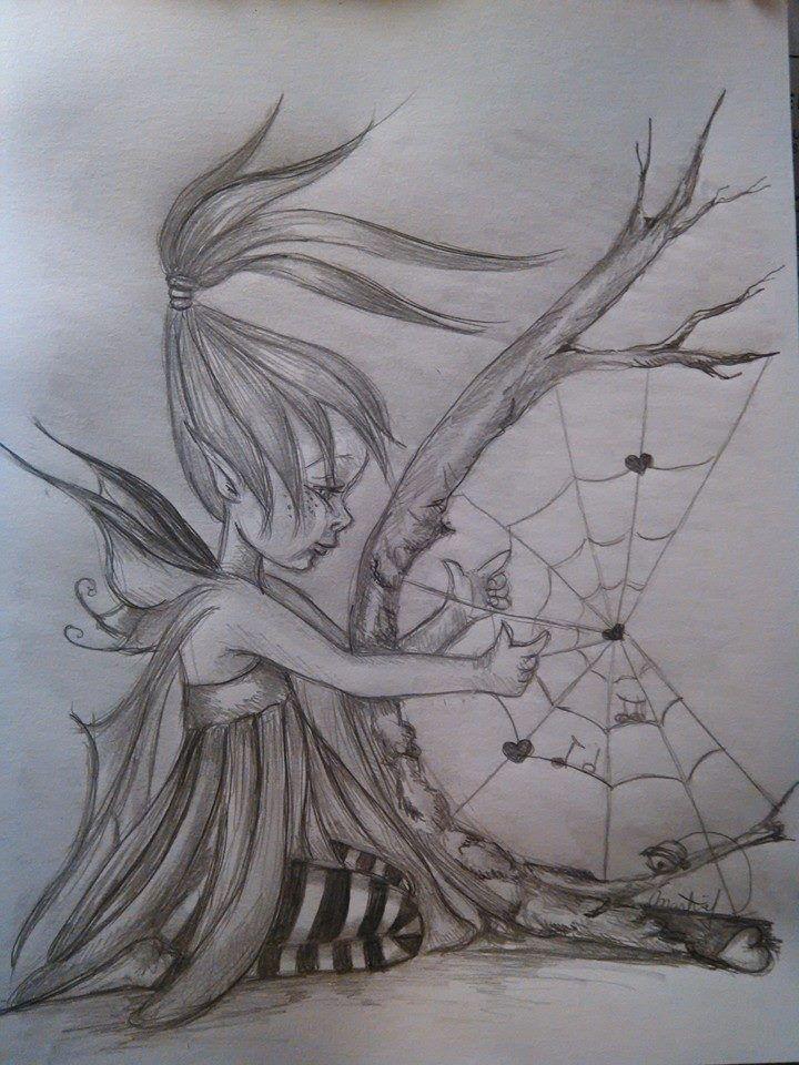 La harpe du temps dessin au crayon illustration faite - Dessiner un elfe ...