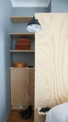 t te de lit cloison elle cache un dressing de part et. Black Bedroom Furniture Sets. Home Design Ideas