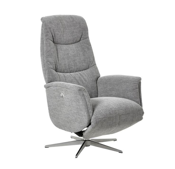 En nätt recliner-fåtölj med reglerbar rygg, justerbart nackstöd och inbyggt fotstöd. Går att få i storlekarna Small, Medium eller Large. Elmotor finns att köpa till.