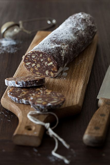 """Шоколадная колбаска"" - Chocolate Biscuit Salami with Walnuts & Rum"