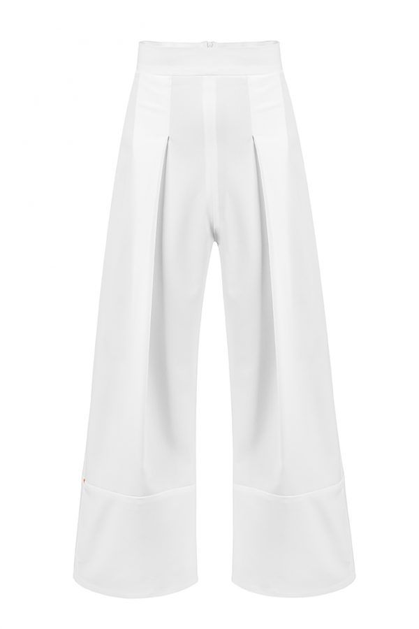 OPHELIA PANTS  This white pair of trousers will slip seamlessly into your upper-class wardrobe. Skillfully created by Concepto, they sit high on the waist, while the wide, A-line legs are elegantly pleated.  This minimalist style is an exquisite example of the brand's bold aesthetic so get prepared to enjoy a spectacular look.