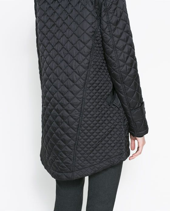 Image 5 of QUILTED COAT WITH HOOD from Zara