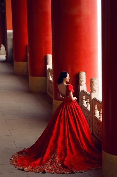 woman in China, red dress