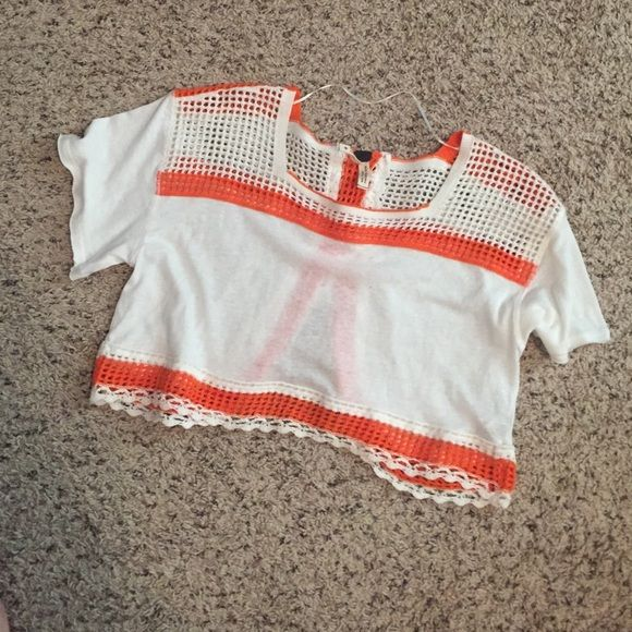 Free people crop top White with orange and white crochet detail. Very great condition! Free People Tops Crop Tops