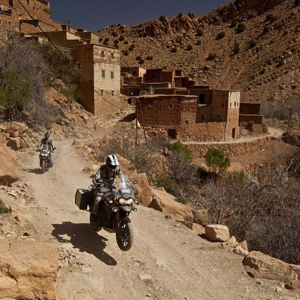 Two Triumph Tiger Explorers cruising throughout Morocco