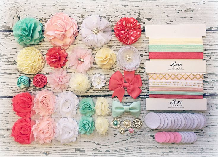 Headband Making Kit - Baby Shower Headband Station MAKES 15+ or 25+ HEADBANDS! Light Pink, Mint, Coral, White, Ivory Most Popular Kit HK100