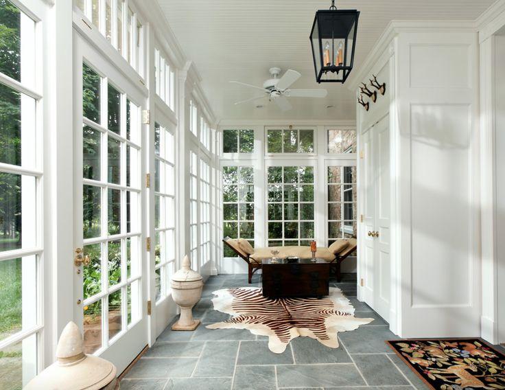 Bluestone tile, glass windows, hall