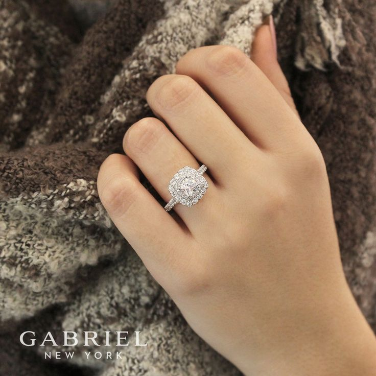 Gabriel & Co.-Voted #1 Most Preferred Fine Jewelry and Bridal Brand. 14k White Gold Cushion Cut Halo  Engagement Ring