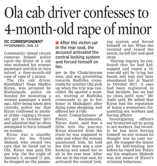 Cab driver arrested for molesting a woman, he also confesses that he had assaulted nine others, including a 10-year-old girl.  #CriminalLawyersinHyderabad        #CriminalAdvocatesinHyderabad #AbhayaLegalServices