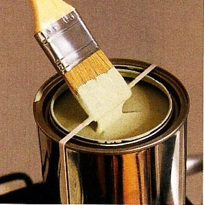 Place a rubber band around an open paint can to wipe your brush on.