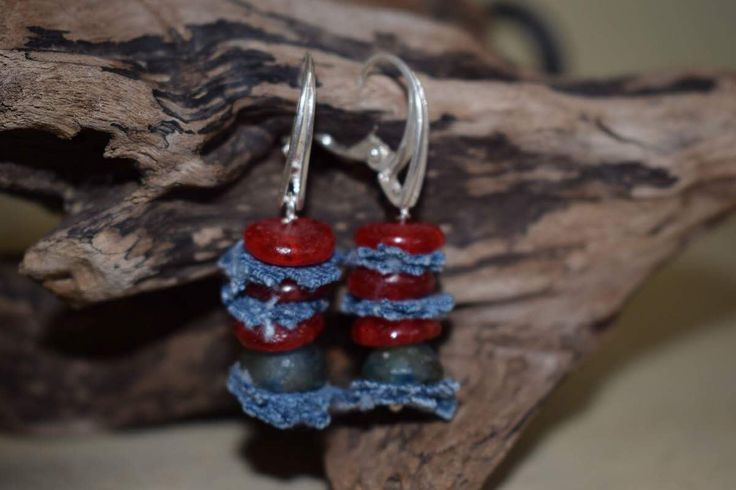 Sterling silver Boho style earrings,recycled materials,Ghana recycled glass beads by denimize on Etsy