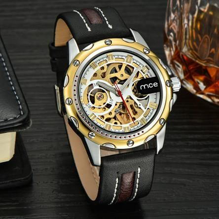 Automatic Leather Skeleton Watch