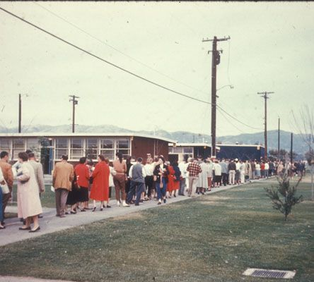 Students line up for registration at San Fernando Valley State College (now CSUN) -- circa 1958. CSUN University Digital Archives.