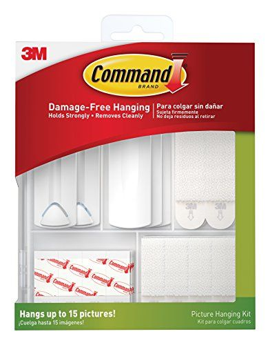 Command Picture Hanging Kit, 3-Sawtooth Picture Hangers, 2-Wire-Backed Picture Hangers, 5-Large Strips, 4-Sets of Large Picture Hanging Strips, 8-Sets of Small Picture Hanging Strips, 16-Poster Strips