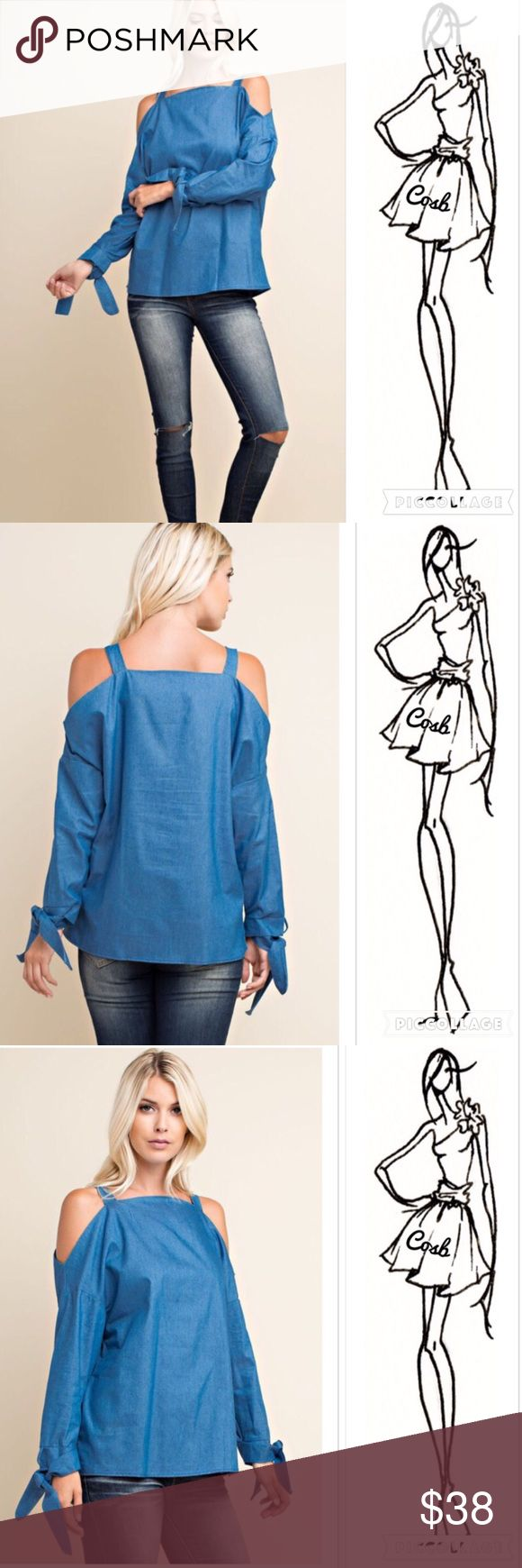 Fall Denim Long Sleeve Top w/Ties Fall denim long sleeve top. Top has cold shoulders & long sleeves. At the end of sleeves are ties. Top has wider strap @ cold shoulder. Stops @ hips. ✨ Price firm unless bundled Cosb Tops