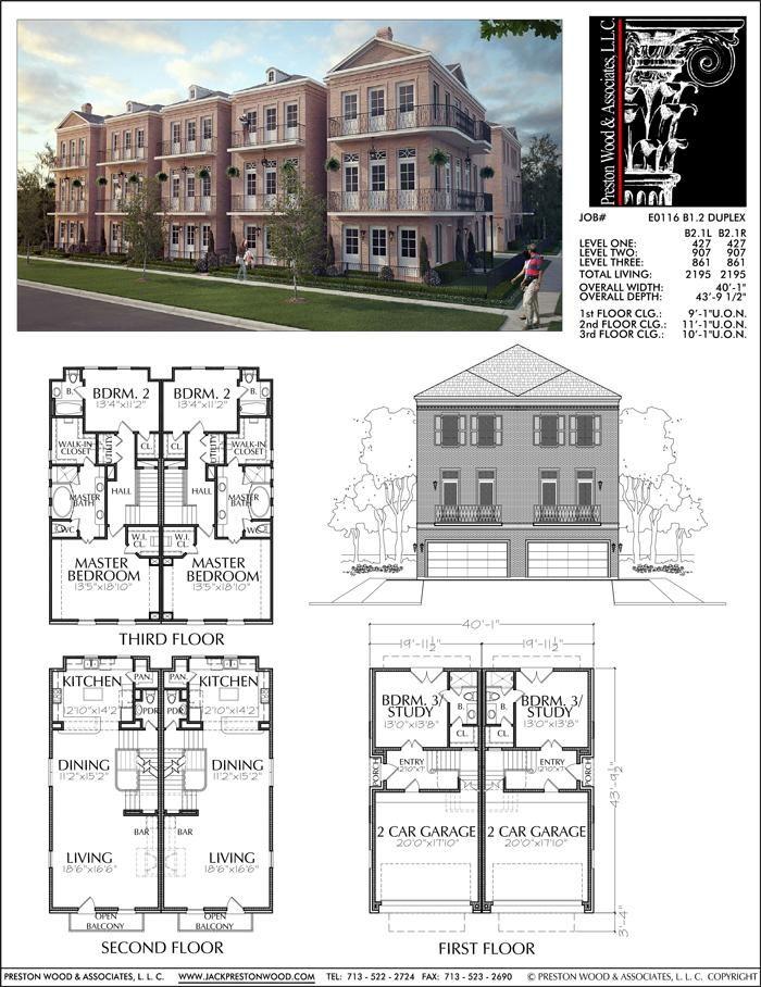Three Story Duplex Townhouse Plan E0116 B1 2 Town House Floor Plan Duplex House Plans Duplex Plans