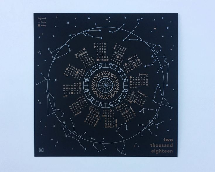 The perfect desktop calendar highlighting the Zodiac calendar within the night sky. This calendar has been designed to be pinned in the center and turned 30 degrees each month for optimal visibility or just set it on your desk next to all your favorite things. Letterpress printed in