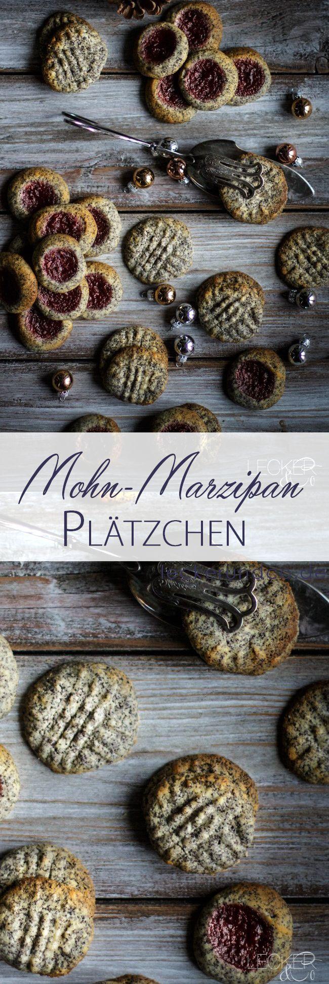 Mohn Marzipan Plätzchen mit Pflaumen