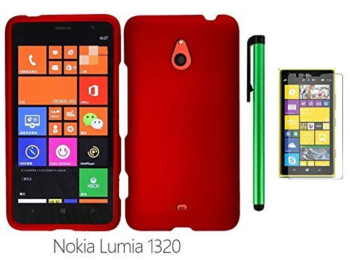 """Buy Nokia Lumia 1320 (6"""" Windows Phone 8 device; US Carrier : Cricket) Phone Case - Premium Design Protector Hard Snap-On Cover Case + Screen Protector Film + 1 of New Metal Stylus Touch Screen Pen (RED) NEW for 10.86 USD 