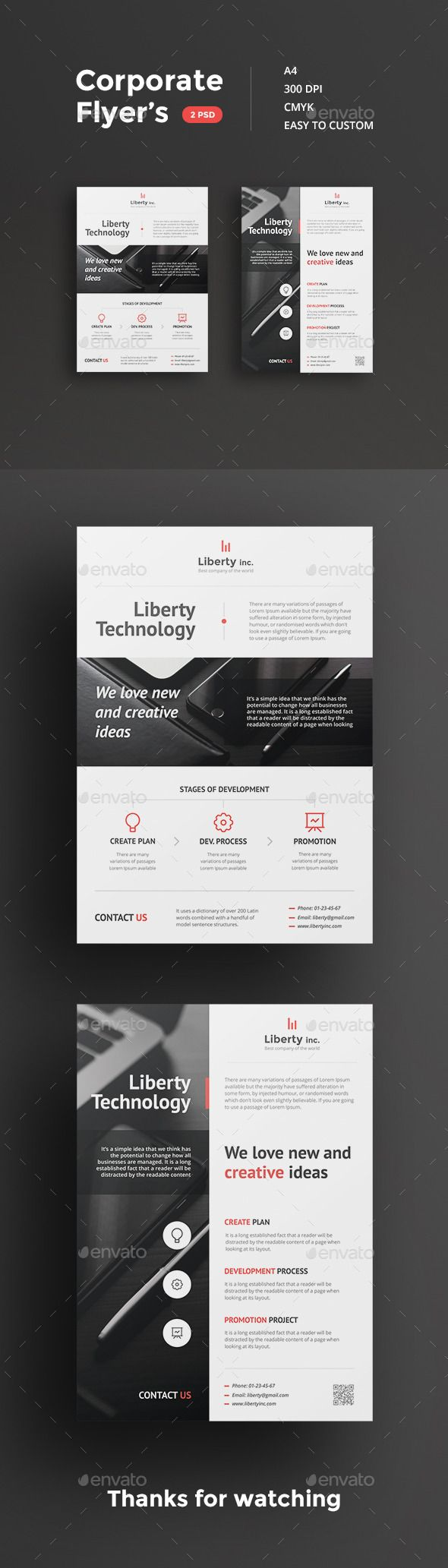 Corporate flyer's made in clean and simple style. Objects easily changed to suit your needs. All files placed in folders, you can easily find the layer you want. Perfect for different companies.