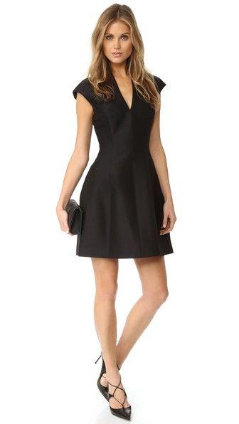 Halston Heritage Cap Sleeve Structured Dress
