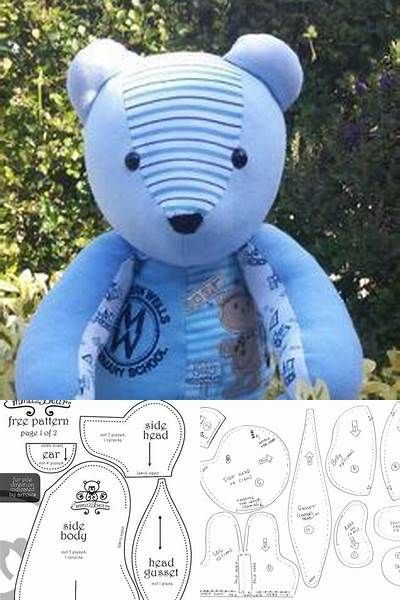 This is a graphic of Crazy Memory Bear Sewing Pattern Free Printable