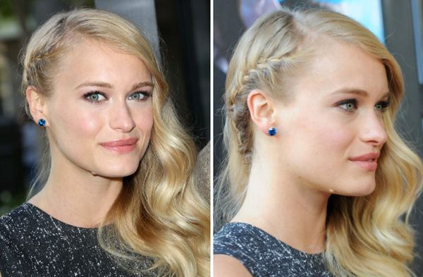 How to get the red carpet hairstyle - curly side swept with braid like Leven Rambin. Celebrity hairstyle.