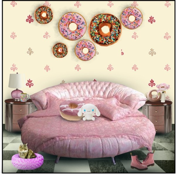 Donut d cor bedroom by retrocat1 via polyvore bed 39 s pinterest donuts decor and by - Old fashioned vintage bedroom design styles cozy cheerful vibe ...