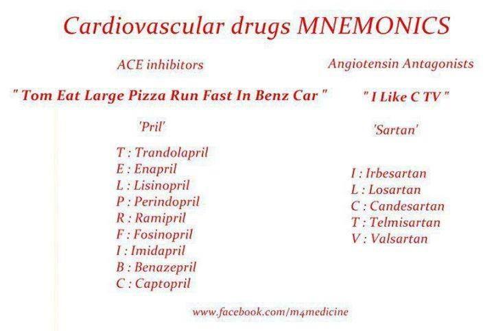 Cardiovascular Drugs Mnemonics Medical Pinterest
