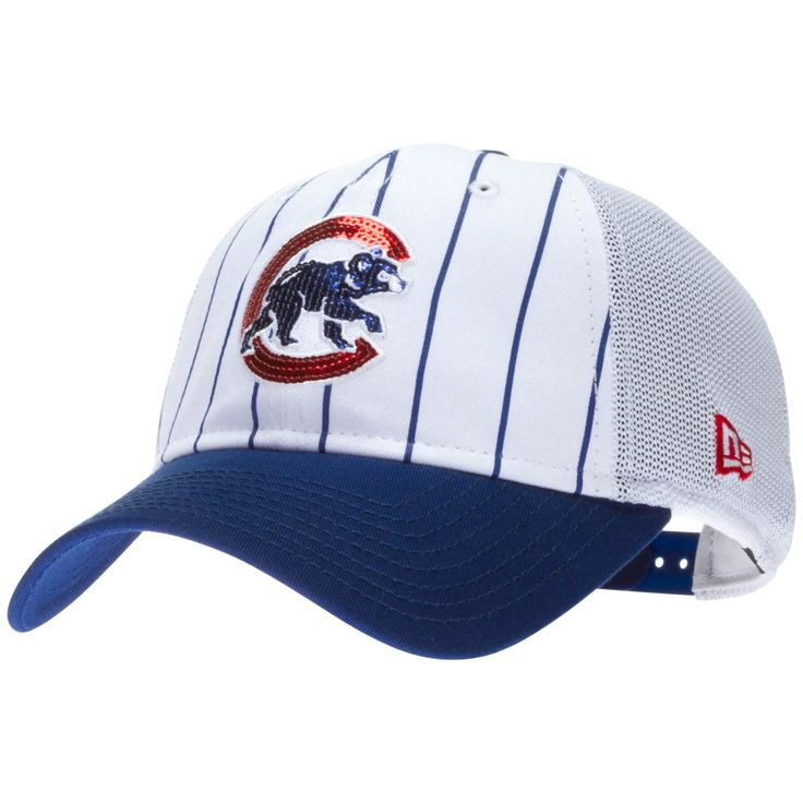 Chicago Cubs Women's White Sequin Crawl Bear Pinstripe Adjustable Hat by New Era #chicago #cubs #ChicagoCubs