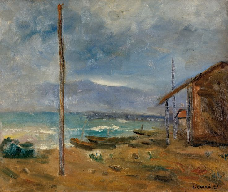 "galerie-martin:  Carlo Carrà - Pioggia al mare, 1929. Oil on canvas panel. 66 x 78 cm (26"" x 30.7"")For more Fine Arts follow galerie mARTin...."