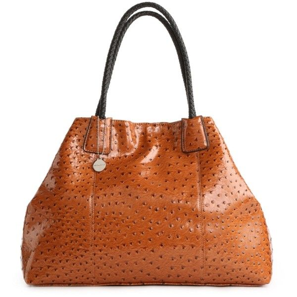 Big Buddha JSNTRINI Ostrich Tote - Brown ($60) ❤ liked on Polyvore