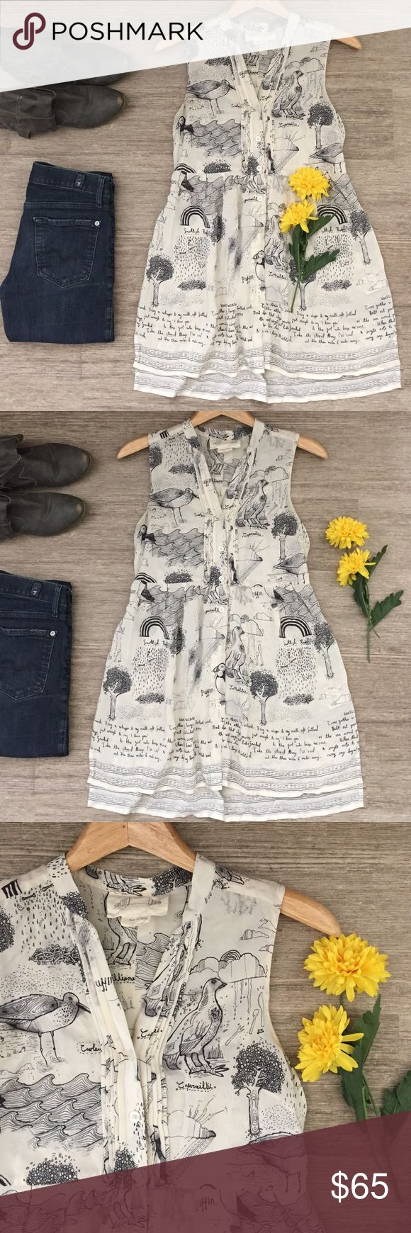 """Anthropologie Scottish Silk Tunic 🌼 Beautiful Anthropologie cream and black print button down sleeveless tunic.  Features whimsical images of Scotland and lyrics from Scottish Band Frightened Rabbit's Scottish Winds.  High/ low hemline.  So unique!  No size tag so check measurements.  Chest is 31"""" and length is 31"""" in front and 33"""" in back.  100% silk.  In excellent condition. Anthropologie Tops Tunics"""