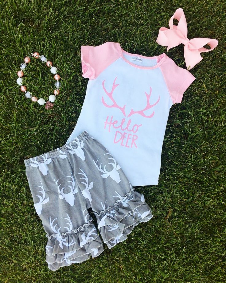 """Pink Gray """"Hello Deer"""" Ruffle Short Set #boutique-outfits #clearance #daily-deal #daily-deals #new #newborn-clothing #newborn-sets #perfect-sets…"""