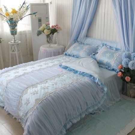 Sisbay Korean Romantic Bedding,wedding bed set , Pure Cotton, Bed Skirt Blue, Princess Lace Embroidery Duvet Cover, Baby Girls Bedding Twin,4pcs //Price: $118.56 & FREE Shipping //     #hashtag3