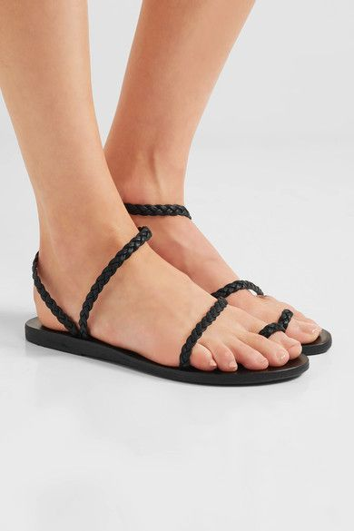 Ancient Greek Sandals - Eleftheria Braided Leather Sandals - Black - IT42